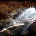 Light bursting through an opening in a cave in Vietnam